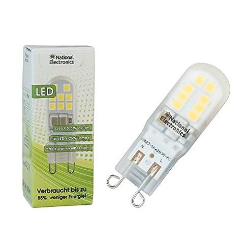 1x National Electronics® lampes Slim | G9 3W 250 LED Lumen | lampe Pin AC 230V lampe de 270 ° blanc chaud