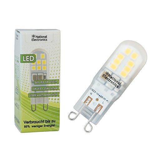 1x National Electronics® | G9 3W 250 Lumen LED | Stiftsockellampe AC 230V 270° Lampe warmweiß