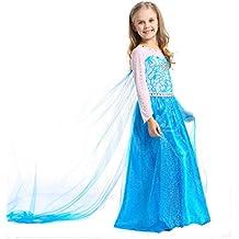 JZK Disfraz princesa elsa vestido poco niña reina hielo vestido para Frozen themed fiesta cumpleaños navidad víspera todos los Halloween traje fiesta
