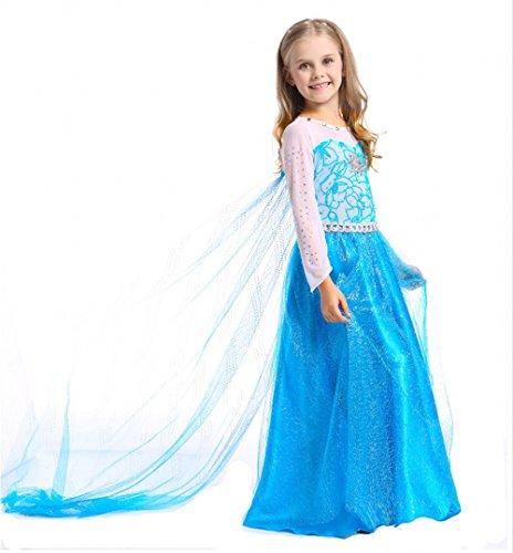Imagen de jzk disfraz princesa elsa vestido poco niña reina hielo vestido para frozen themed fiesta cumpleaños navidad víspera todos los halloween traje fiesta