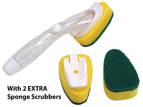 Hokipo Soap Dispensing Dishwashing Brush With 2 Extra Scrub Sponge Refills