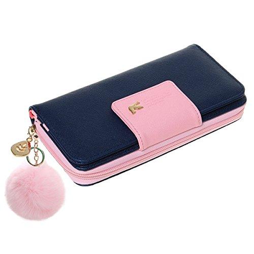 Damen Geldbörse,Newanima Multi-Card Position Zwei Falten Lange Reißverschluss Geldbörse Handhandtasche Vögel Muster (Dunkelblau)