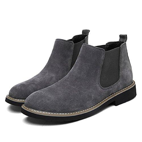 LILY999 Herren Chelsea Boots Wildleder Warm Gefütterte Stiefeletten Flache Winterstiefel Wasserdichte Winterschuhe Schneestiefel Knöchelhohe Stiefel Grau Gefüttert