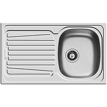 Lavello PYRAMIS 86 x 50 in acciaio INOX lavandino 1 vasca DESTRA + gocciolatoio lavabo con PILETTA 3,5''