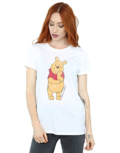 Disney Damen Winnie The Pooh Classic Pooh Boyfriend Fit T-Shirt Medium Weiß (Fit Entspannt T-shirt Damen)