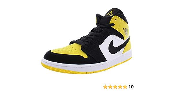 Jordan Air 1 Mid SE, Baskets, noir (Noir/noir-tour jaune.), 43 EU ...