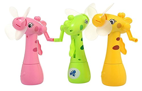 SuperToy(TM) Cute Eco-Friendly Hand-driven Mist Spray Fan (Multi color) (Pack of 1)
