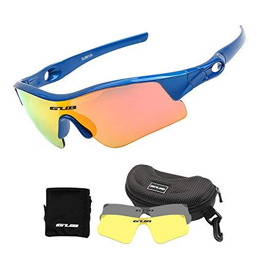 Womdee Kinder Fahrradbrille, polarisierte Sport-Sonnenbrille mit 2 austauschbaren Gläsern, 100% UV-Schutz, mit unzerbrechlichem Rahmen für Jungen, Mädchen, Alter blau