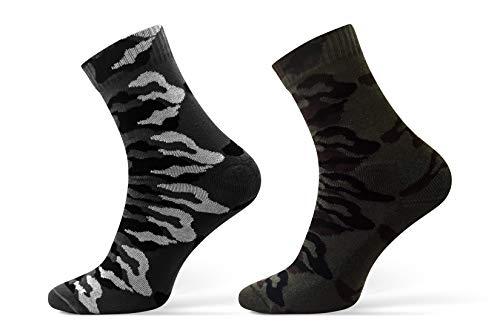 Sesto Senso® Militär Socken 1 oder 2 Paar Baumwollsocken Camo Wandersocken in Militärfarben Army Sportsocken zum Angeln Jagen - HUNTING (44-46, 2 pack Grau Grün)