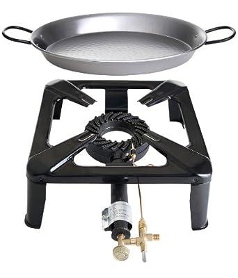 Paella World International Gaskocher Hockerkocher-Set mit Paella-Pfanne, Mehrfarbig, 2-teilig