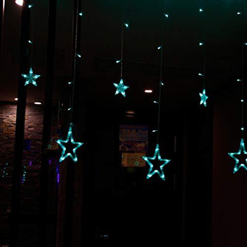 Saitenlichter, Star-Lichter LED Lights Saque Five-Pointed Star Curtain Lights Christmas Day Lights Hochzeiten Ins Dekorative Leuchten, 6 Big 6 Small Stars Lights (European Regulations),Blue