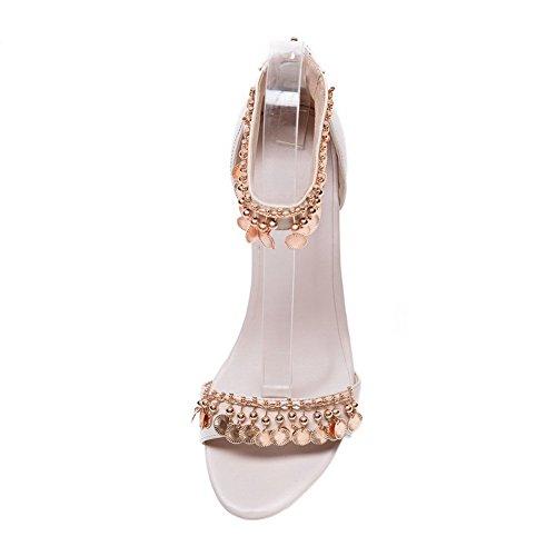 Adee Femme Paillettes solide matériau doux Sandales Beige - beige