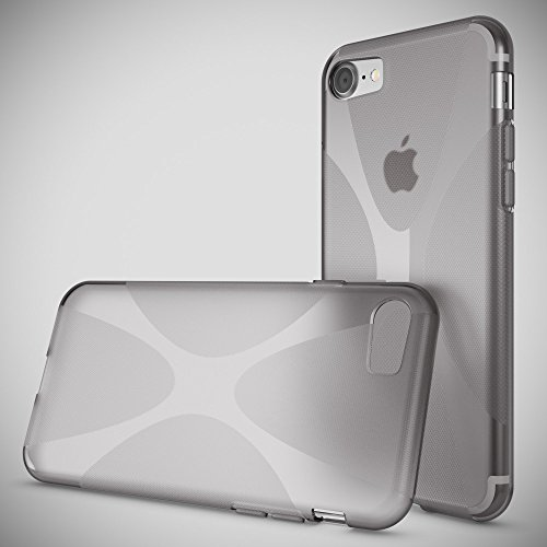 iPhone 8 / 7 Hülle Handyhülle von NICA, Ultra-Slim Silikon Case Cover, Dünne Crystal Schutzhülle, Etui Handy-Tasche Back-Cover Bumper, TPU Gummihülle für Apple i-Phone 7 / 8 Phone - Transparent Weiß X-Line Grau