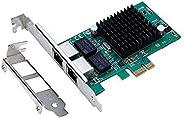 X-MEDIA Dual Port 10/100/1000Mbps Intel 82575EB Gigabit Ethernet PCI Express PCIe x1 Server Network Card/Netwo