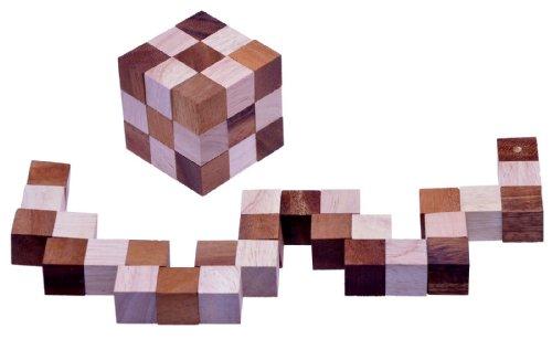 Schlangenwürfel 3x3 Gr. M - 6x6x6 cm - Snake Cube - Würfel Schlange - 3D Puzzle - Denkspiel - Knobelspiel - Geduldspiel - Logikspiel aus edlem Holz