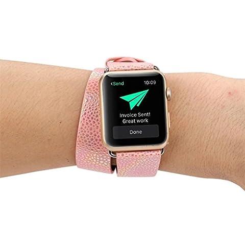 Remplacement montre Band, Jaminy longue Bande de cuir double tour Bracelet Bracelet pour Apple montre 38mm, rose gold