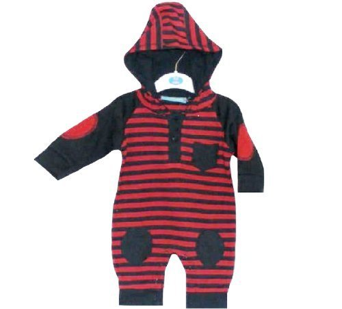 All in One Red & Navy Stripes Design for Baby 6-9 Months by Jack and Lily -