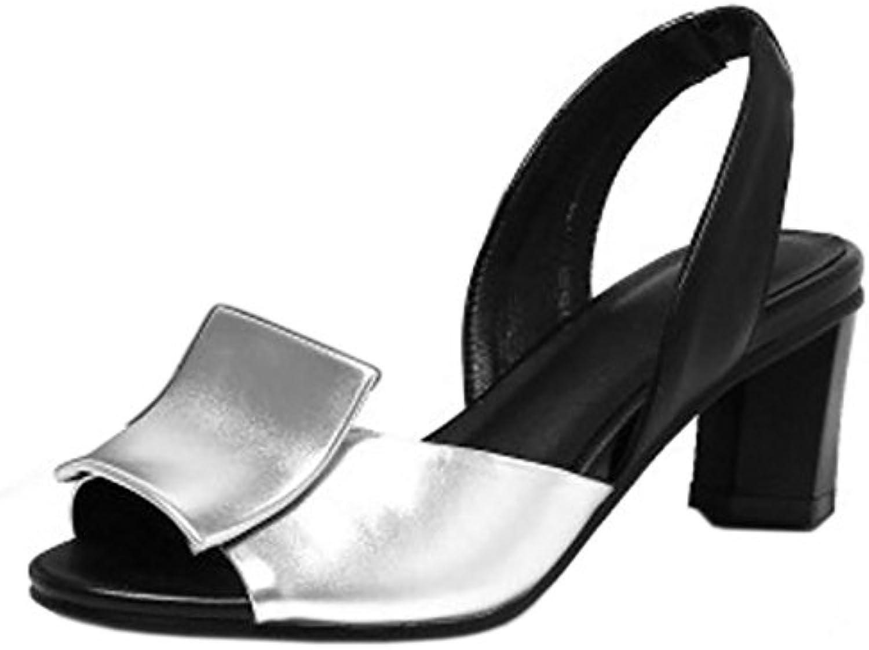 COOLCEPT Mujer Moda Peep Toe Tacon Ancho Medio Sandalias Slingback sin Cordones Verano Zapatos