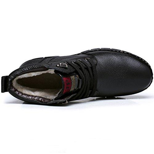 MatchLife Herren Hoch-Spitze Schneestiefel Fur Snow Schuhe Style3-Schwarz-Fleece