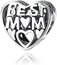 Authentic Love My Best Mom 925 Sterling Silver Charms Fit Pandora & Other European Charm Brace