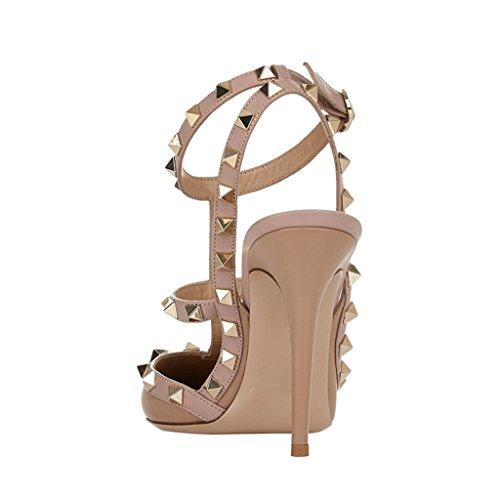 MERUMOTE Damen Y-112 Pointed Toe Thin Straps Pumps High Heels Nieten Kleid Sandalen EU 35-46 Beige-Mattem