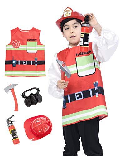 IKALI Kinder Feuerwehrmann Kostüm, Unisex Feuer Chief Weste Uniform Pretend Play Toy Outfit (5 Stück) 3-4 (3 Stück Feuerwehrmann Kostüm)