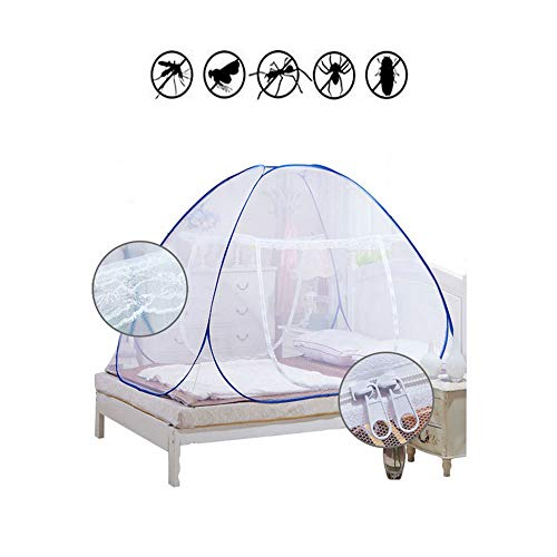 Lijie Moskitonetze, tragbar, kostenlose Installation und Faltnetze, Pop-Up-Zelt, Mückenschutz, Insektenschutz, Einzelbett, ideal für hohe und niedrige Bett, für Innen- und Außenbereich, 200*200*160