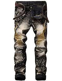 c0d421398f8 Vdual Men s Distressed Ripped Biker Denim Pants Slim Fit Zipper Destroyed  Jeans