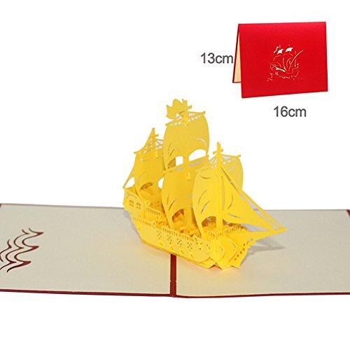 Messagee 3d pop-up retro sailing biglietto d' auguri, mamma,, carta, yellow