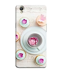 FUSON Designer Back Case Cover for Oppo A37 (Flower And Butterflies Cupcake Workshop Breakfast)