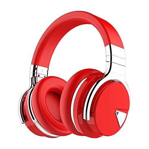 COWIN E7 Active Noise Cancelling Kopfhörer Bluetooth-Kopfhörer mit Mikrofon Tiefe Bässe Drahtlose Kopfhörer über dem Ohr, Bequeme Eiweiß-Ohrpolster, 30 Std. Spielzeit für Reise-Work-TV PC (Rot) -