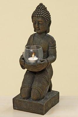 Buddha Windlicht Kerzenhalter Dekofigur Skulptur - Höhe 44 cm grau-braun von BOLTZE GRUPPE GmbH bei Du und dein Garten