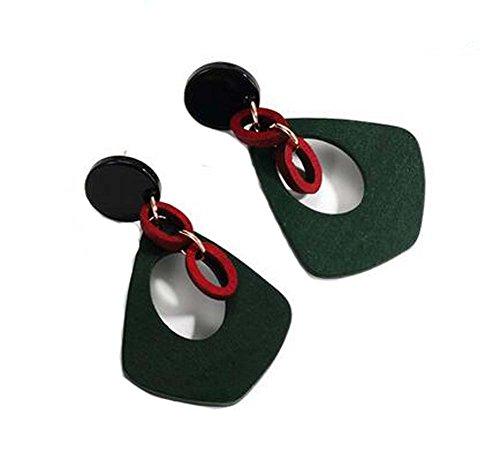Boucles d'oreilles asymétriques en vert de style européen Woody, vert