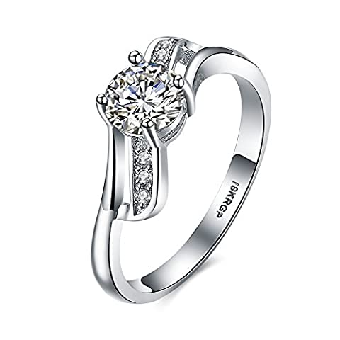 Eternity Love Women Wedding Engagement Rings 18K Gold Plated Cz Diamonds Bands Solitaire Princess Cut Promise Anniversary Bridal Jewelry Infinity Love for Her, JPR817-8-UK