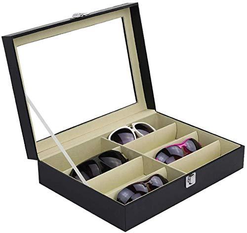 LRZRJ Anzeige Sonnenbrillen Fall Sunglass Aufbewahrungsbox Brillen Sonnenbrillen Organizer-Kollektor - Kunstleder 8-Slot-Gläser-Anzeigen-Speicher-Organisator-Kasten-Organisatoren,Black -