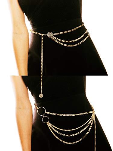 2 Stücke Damen Trendy Multi Layer Metal Link Taille Kette Gürtel (Stil A)