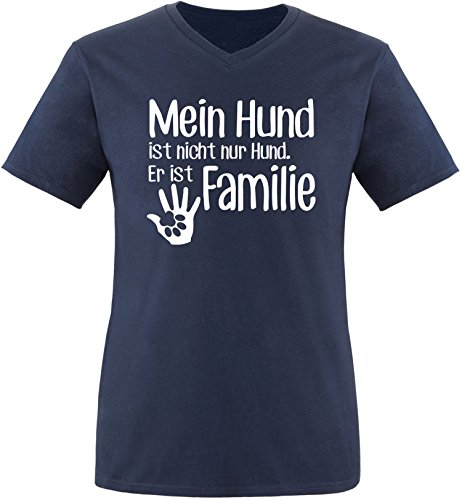ezyshirt® Mein Hund ist nicht nur Hund! Er ist Familie Herren V-Neck T-Shirt Navy/Weiss