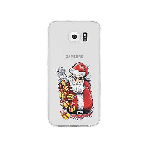 licaso S6 S6 Handyhülle TPU mit Cool Santa Claus with Gifts Print Motiv - Transparent Cover Schutz Hülle Aufdruck Lustig Funny Druck