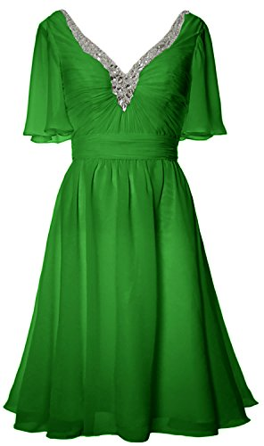 MACloth Women Short Sleeves Mother of Bride Dress V Neck Evening Formal Gown Green