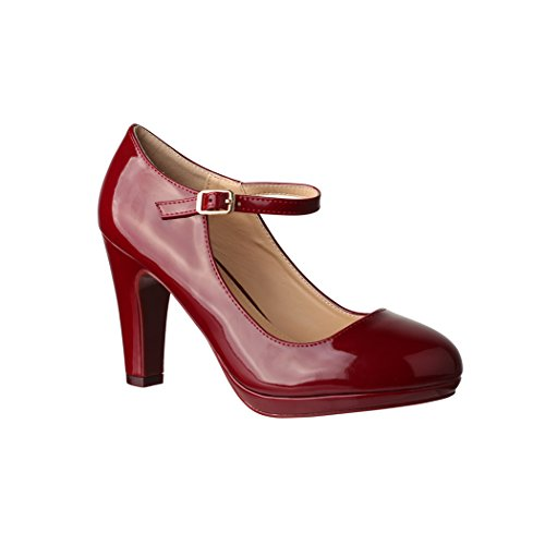 Elara Damen Pumps | Bequeme High Heels Lack-Optik | Vintage-Style | Abendschuh Trendy | Chunkyrayan | 118-7 Wine-39