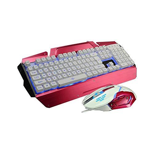 DZCP K5-Metallregenbogen mit Hintergrundbeleuchtung, professionelle Gaming-Tastatur- und -Mauskombination, verdrahtete USB-Schnittstelle, DPI-Einstellungen, Mechanical Sense, Schwarz, Silber, Rot