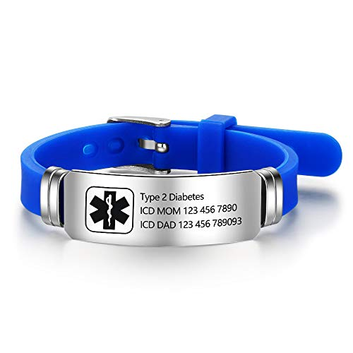 Lam Hub Fong Kostenlose Gravur 9 Zoll Silikon Einstellbare Medizinische Armbänder Sport Emergency ID Armbänder Für Männer Frauen Kinder wasserdichte Edelstahl Gummi Alarm Armbänder (Blue) -