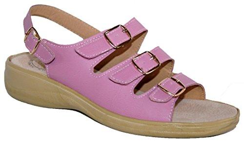 Donna Cushion Walk leggero regolabile cinghie sandalo estivo con tacco in schiuma Memory Pink