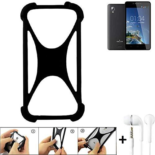 K-S-Trade Handyhülle für Kazam Trooper 2 6.0 Schutzhülle Bumper Silikon Schutz Hülle Cover Case Silikoncase Silikonbumper TPU Softcase Smartphone, schwarz (1x), Headphones