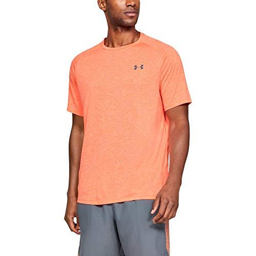 Under Armour Herren Tech 2.0 T-Shirt, atmungsaktives Sportshirt, kurzärmliges und schnelltrocknendes Trainingsshirt mit loser Passform,Orange Glitch,S