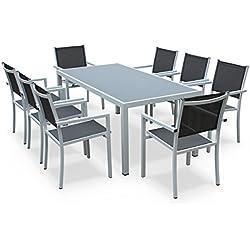 Alice's Garden - Comedor de jardin, conjunto de mesa y sillas de aluminio y textileno - Blanco / gris - 8 plazas - CAPUA 180 - Alice's Garden