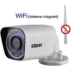 Clarer B200-SW Full HD IP Bullet Kamera / 2MP / Überwachungs-Netzwerkkamera / Indoor & Outdoor / WLAN & LAN / PoE (Power over Ethernet) / Bewegungserkennung, Aufnahme / Digitales WDR / SD-Kartenslot für bis zu 128 GB / IP67 Schutzklasse (Staub- und Wasserschutz)