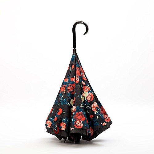 kinine Stock inversa anti-pieghevole ombrello portaombrelli contro ricevendo doppio ombrello ombrellone antivento auto ombrello,J-nero (Rosa Piccolo Stock)