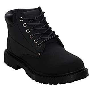 A&H Footwear Mens Gents Casual Lace Up Winter Warm Combat Hiking Work High Top Padded Collar Ankle Boots Shoes Sizes UK 6-12 (UK 9, All Black)