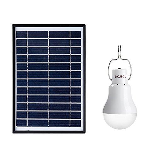 Saiko Solarleuchten Lampe wiederaufladbarer LED-Glühbirne Solar Panel Tragbar Lämpchen Licht mit Schalter für Innen Outdoor Wandern Zelt Shed Camping Licht 6 W 5000MA für 6 Stunden (Licht Lampe Panel Emittierende)